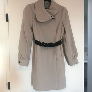 H&M blush nude coat w/ removable belt XS Small 4